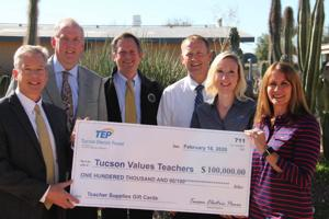 Tucson Values Teachers receives $100,000 from Tucson Electric Power