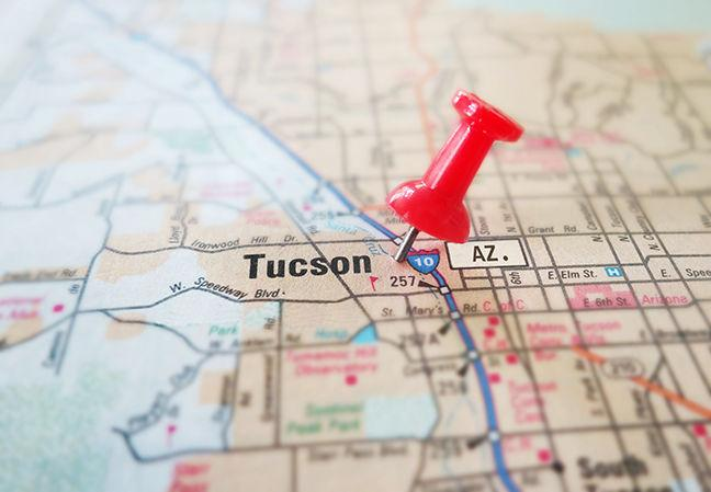 Closeup Of Tucson Arizona Map With Red Pin     insidetucsonbusiness.com
