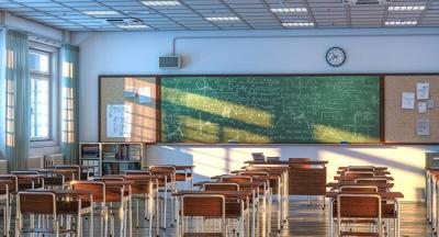 interior of a school classroom with wooden desks and chairs. nobody around. 3d render empty