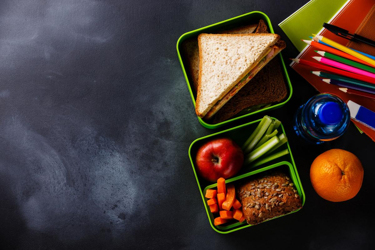 Lunch box with Sandwiches, bottle of water and school supplies
