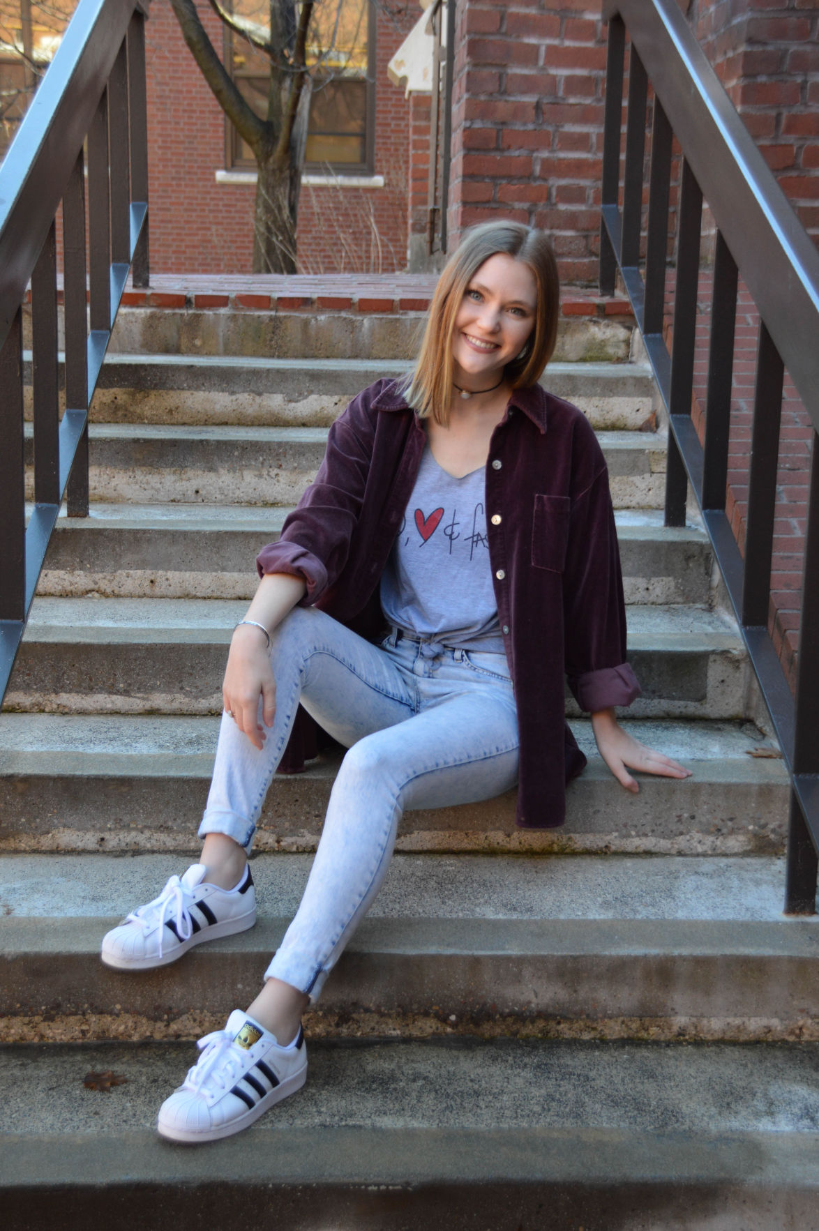 Graphic tee with vintage button down
