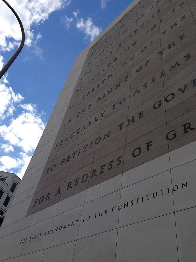 First Amendment on the facade of the Newseum in Washington, D.C.