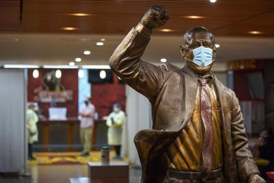 Johnny Orr statue with mask