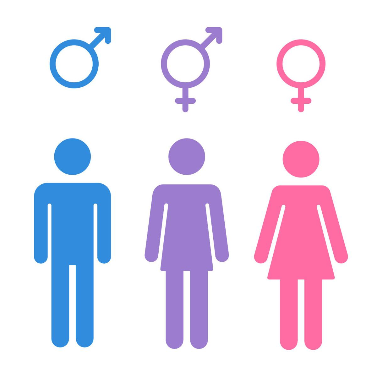 Brase unisex bathrooms are needed for society opinion set of gender symbols with stylized silhouettes male female and unisex or transgender isolated vector illustration buycottarizona