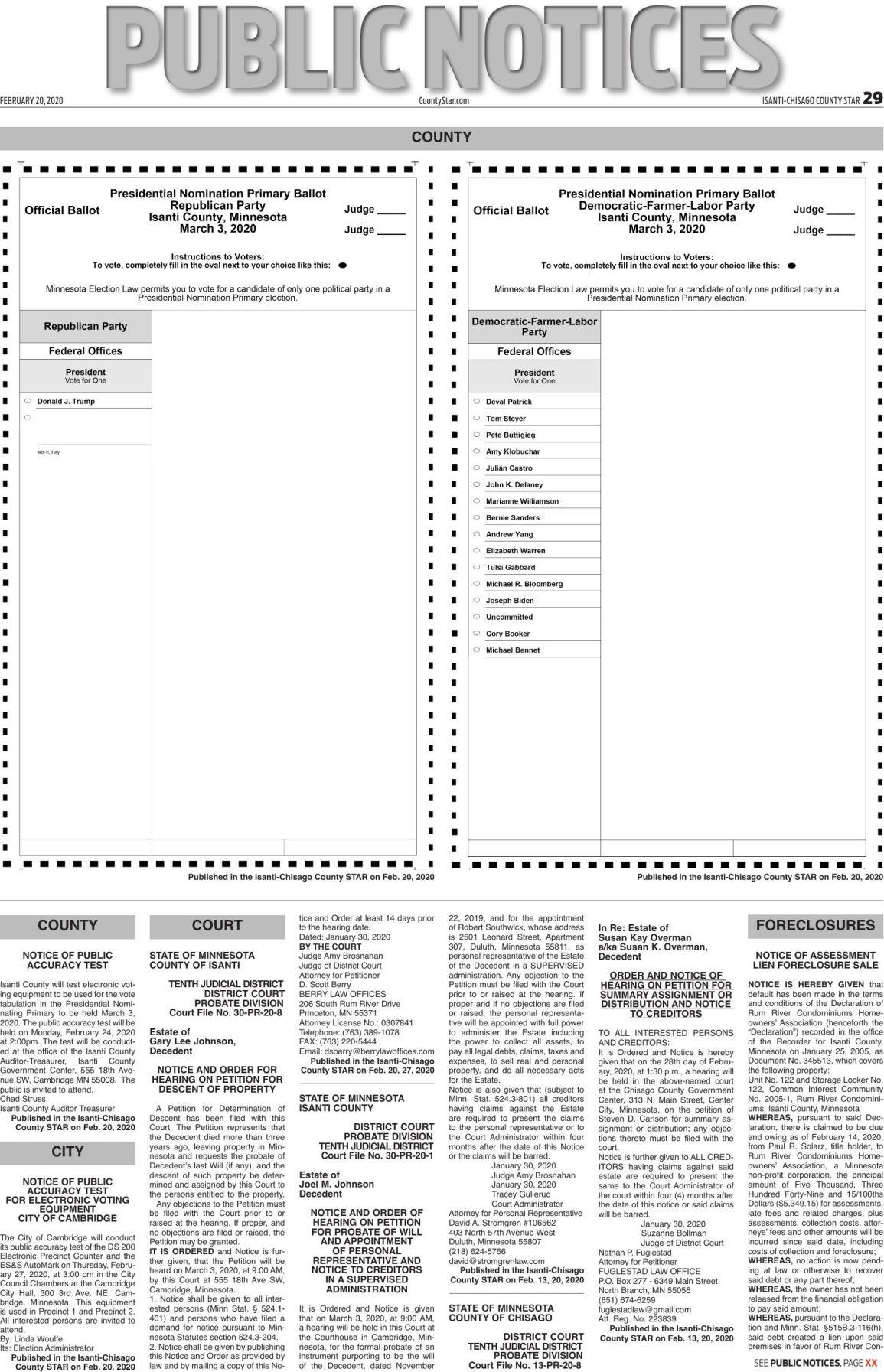 Public Notices - Feb. 20, 2020