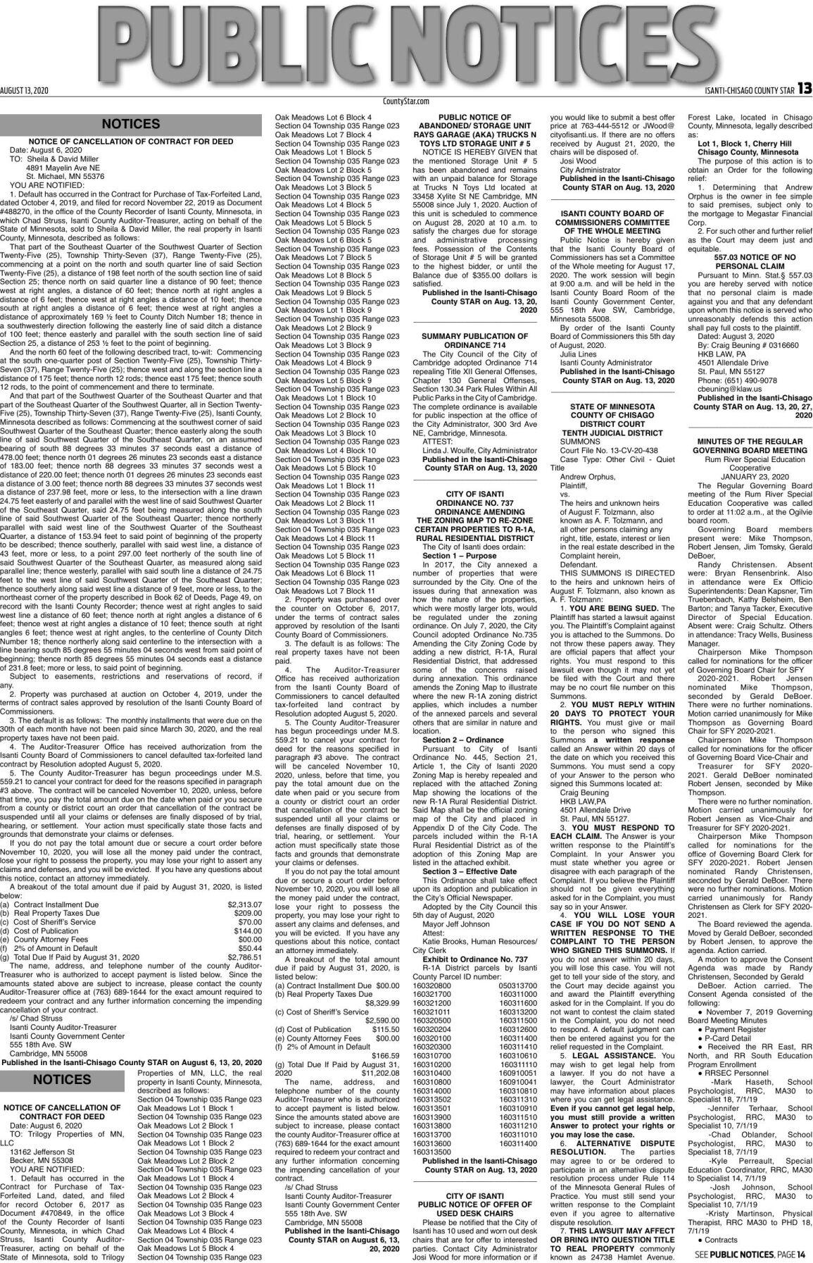 Public Notices - August 13, 2020