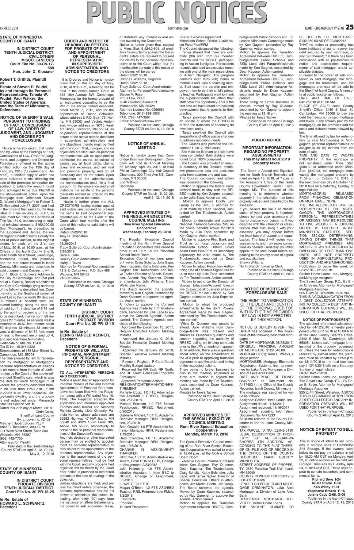 Public Notices - April 12, 2018