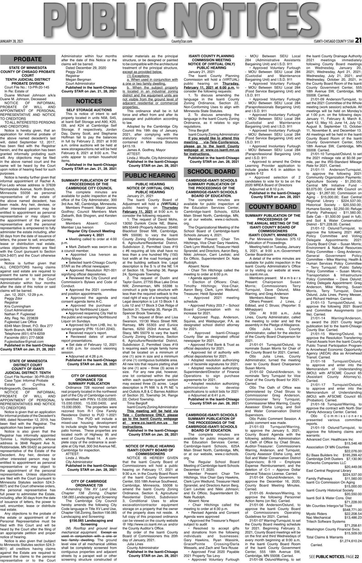 Public Notices - January 28, 2021