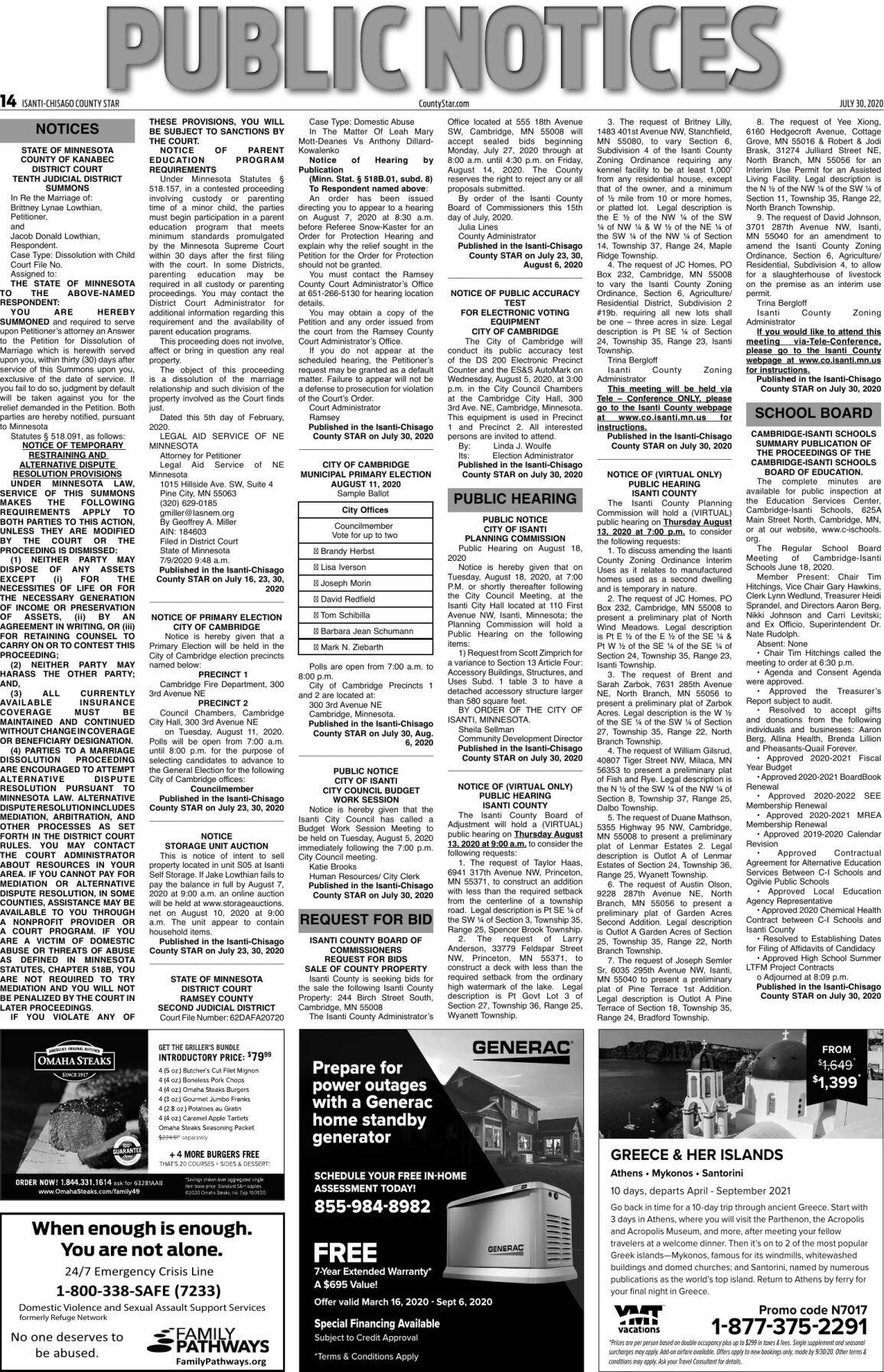 Public Notices - July 30, 2020