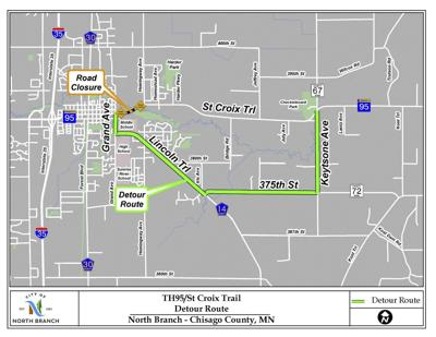 Highway 95 in North Branch to be temporarily closed