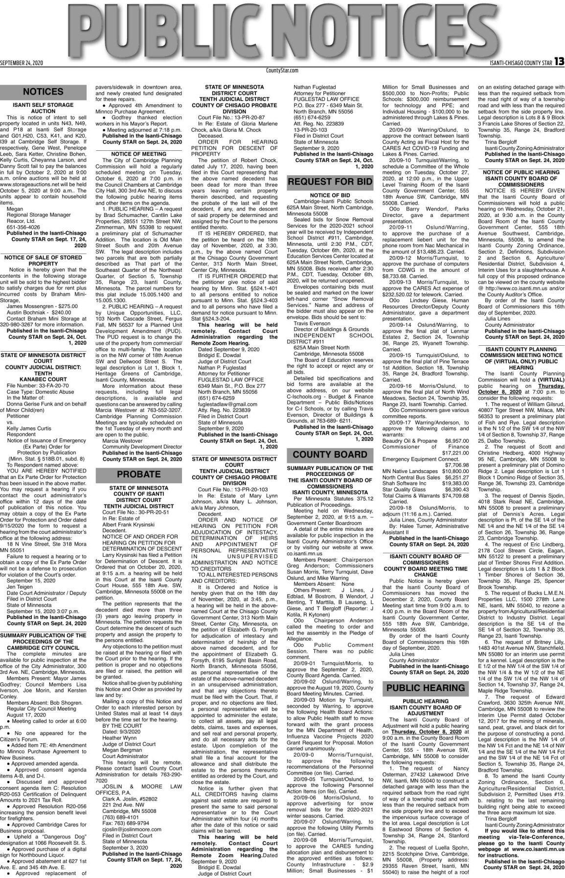 Public Notices - September 24, 2020