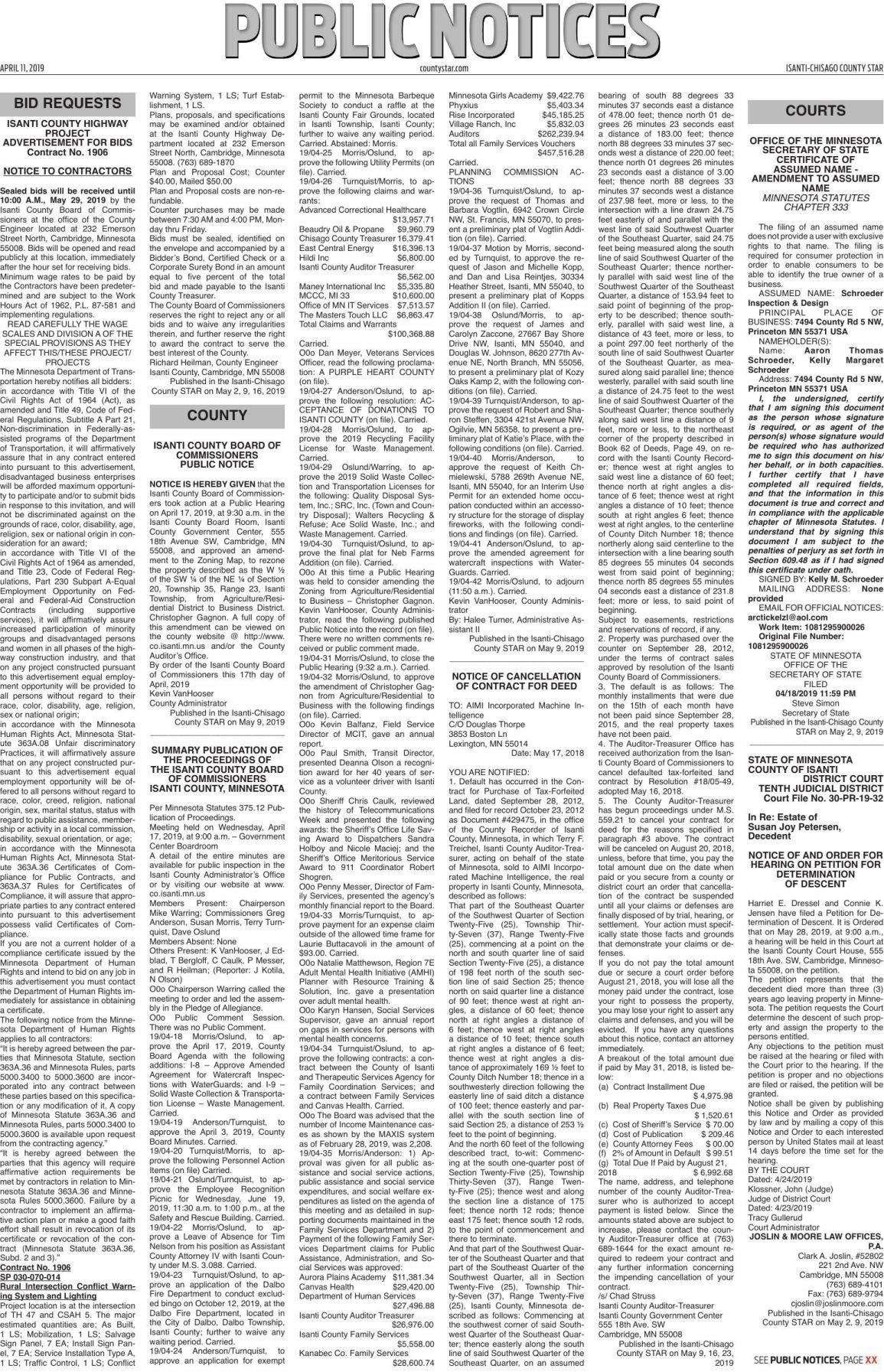 Public Notices - May 9, 2019