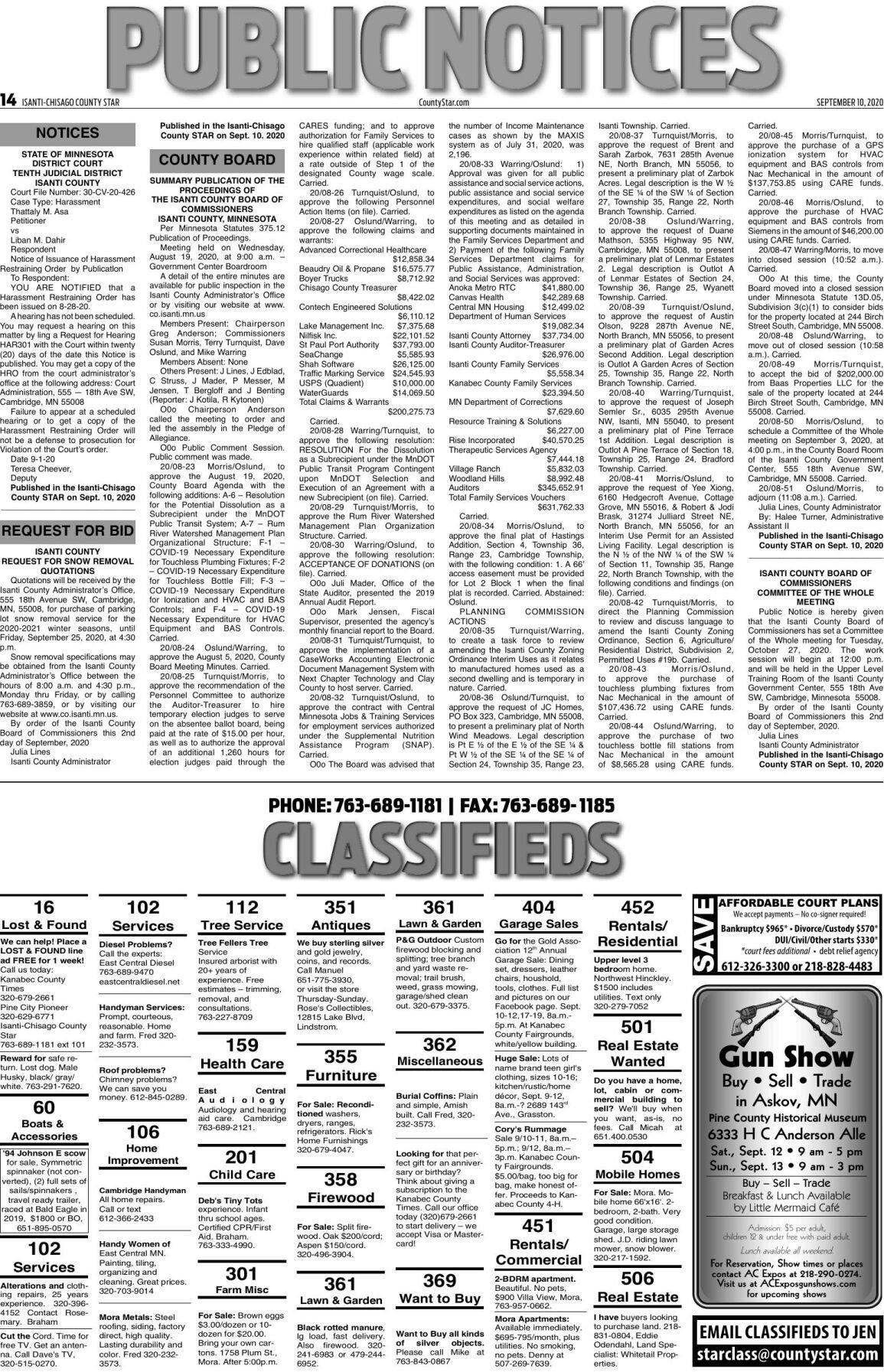 Public Notices - September 10, 2020