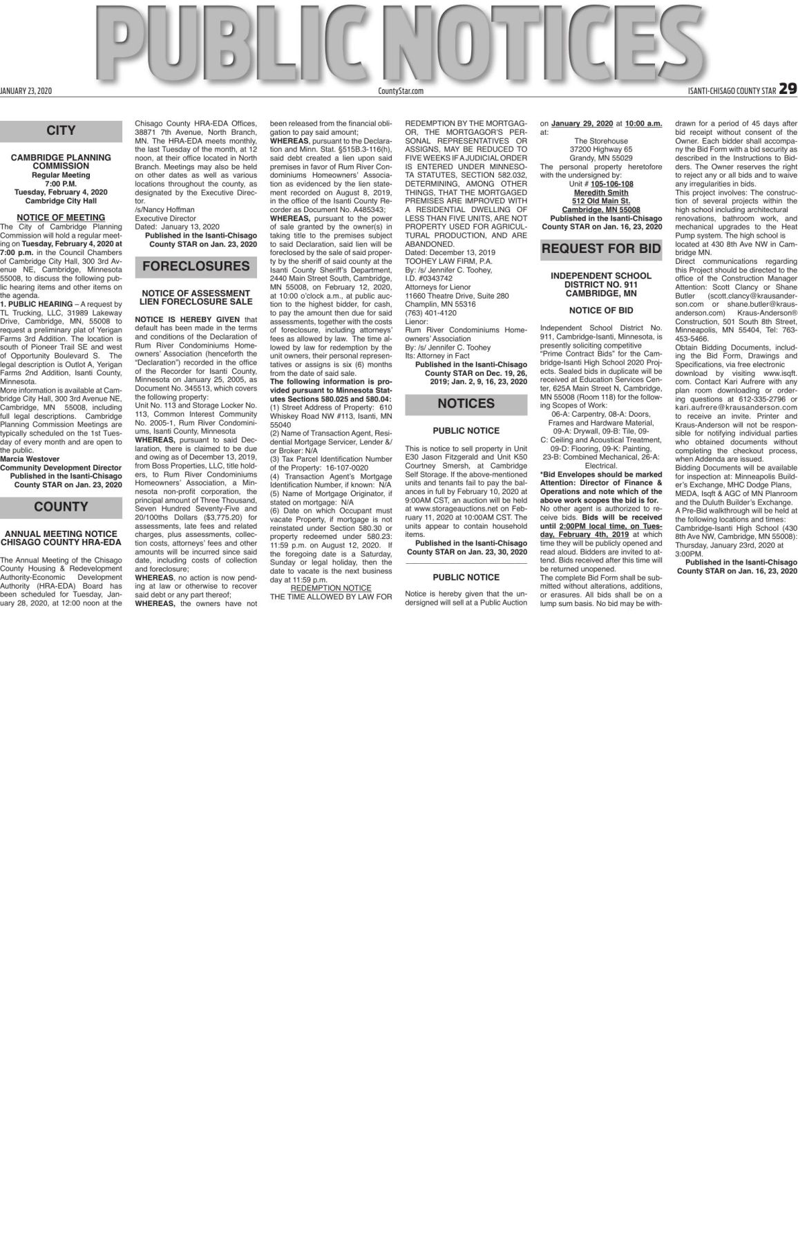 Public Notices - Jan. 23, 2020