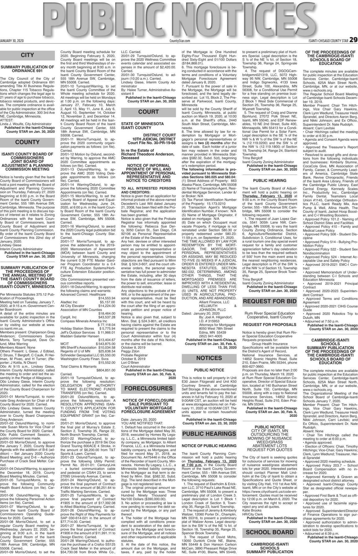Public Notices - Jan. 30, 2020
