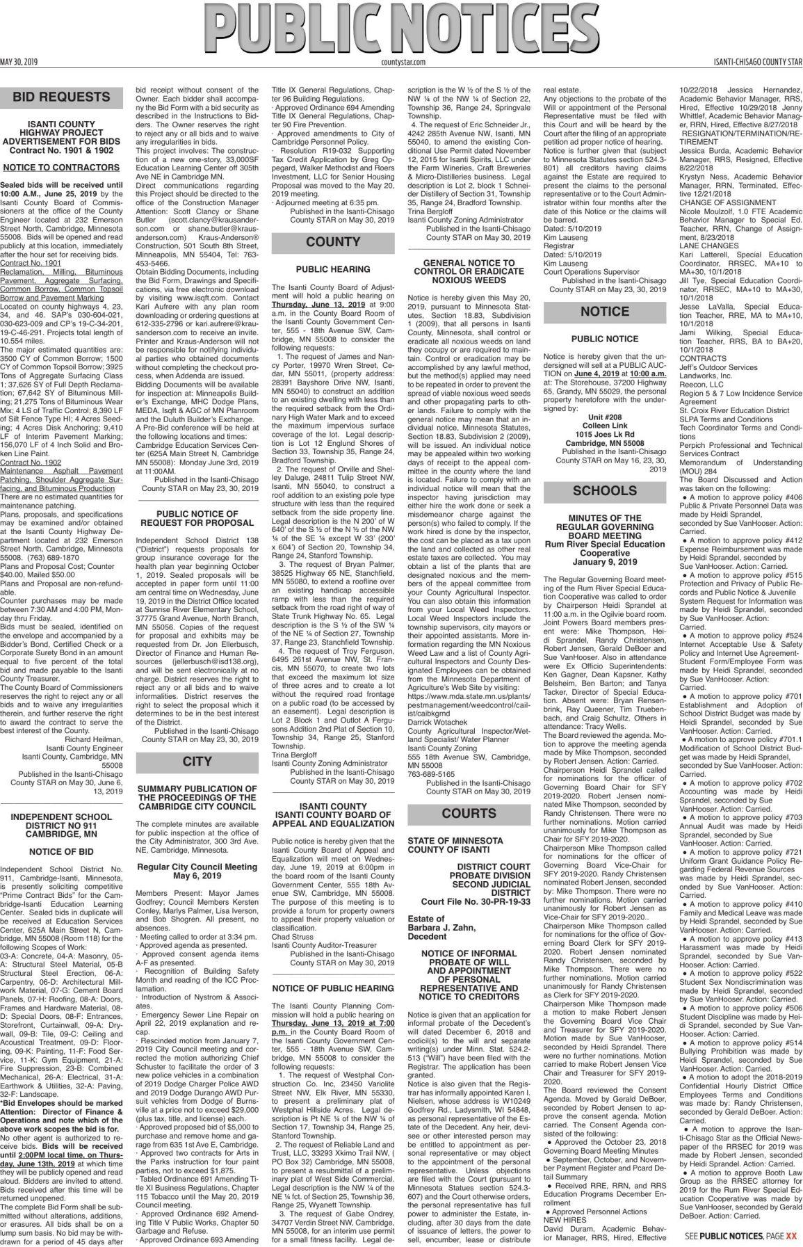 Public Notices - May 30, 2019