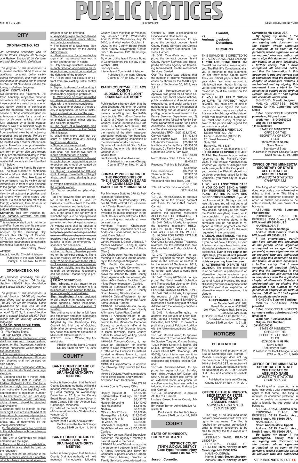 Public Notices - Nov. 14, 2019