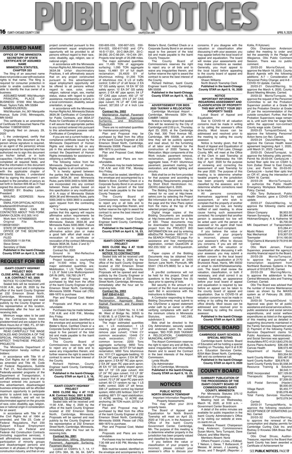 Public Notices - April 9, 2020