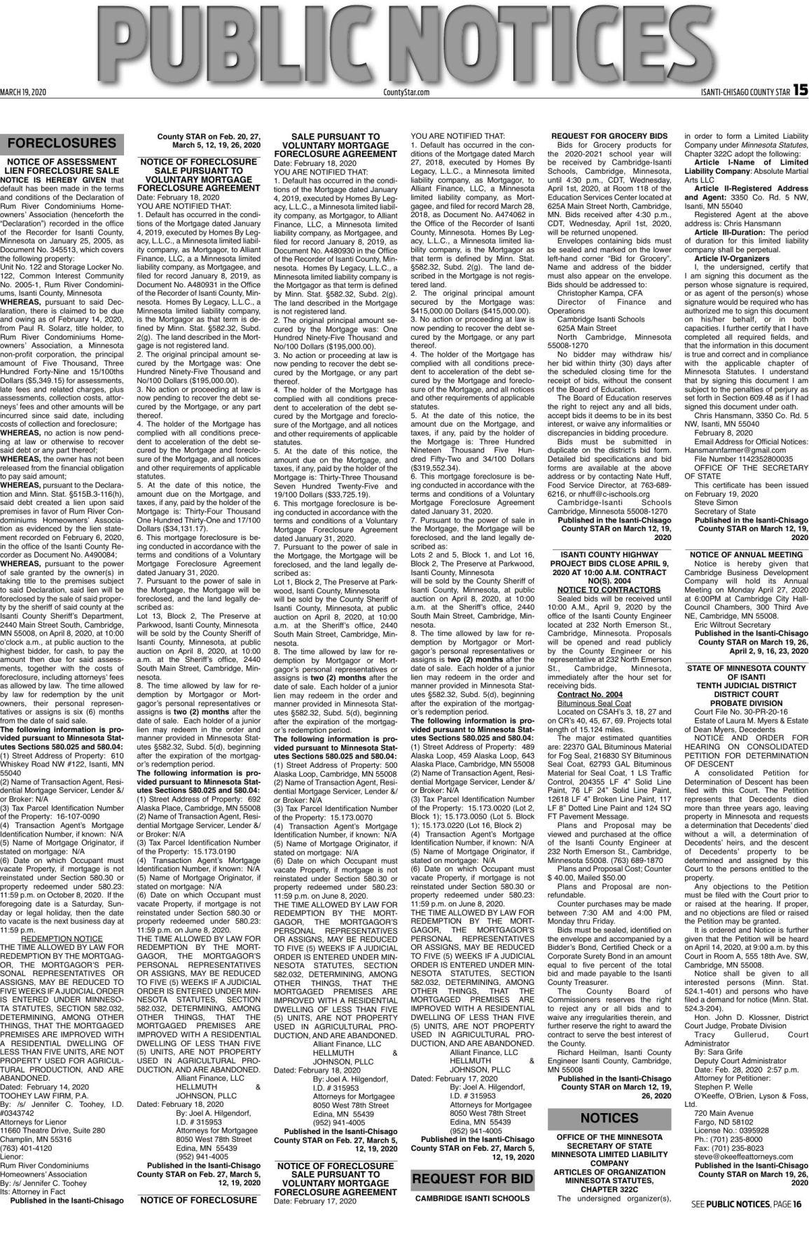 Public Notices - March 19, 2020