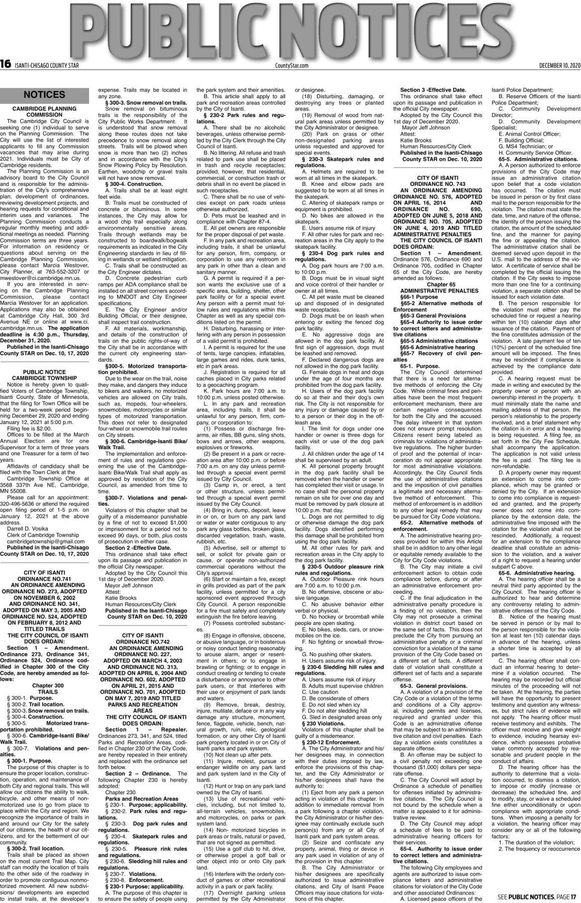 Public Notices - December 10, 2020