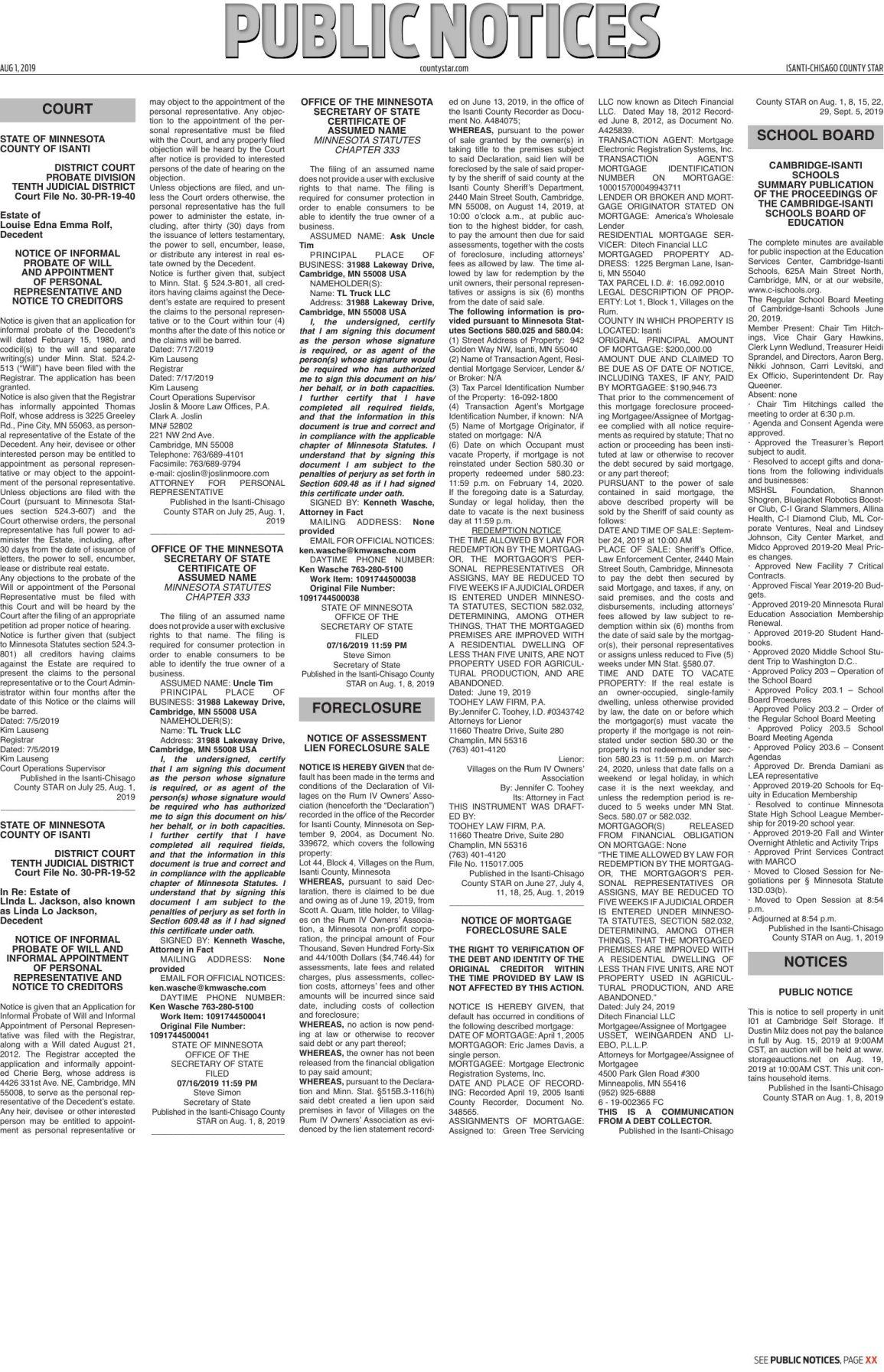 Public Notices - Aug. 1, 2019