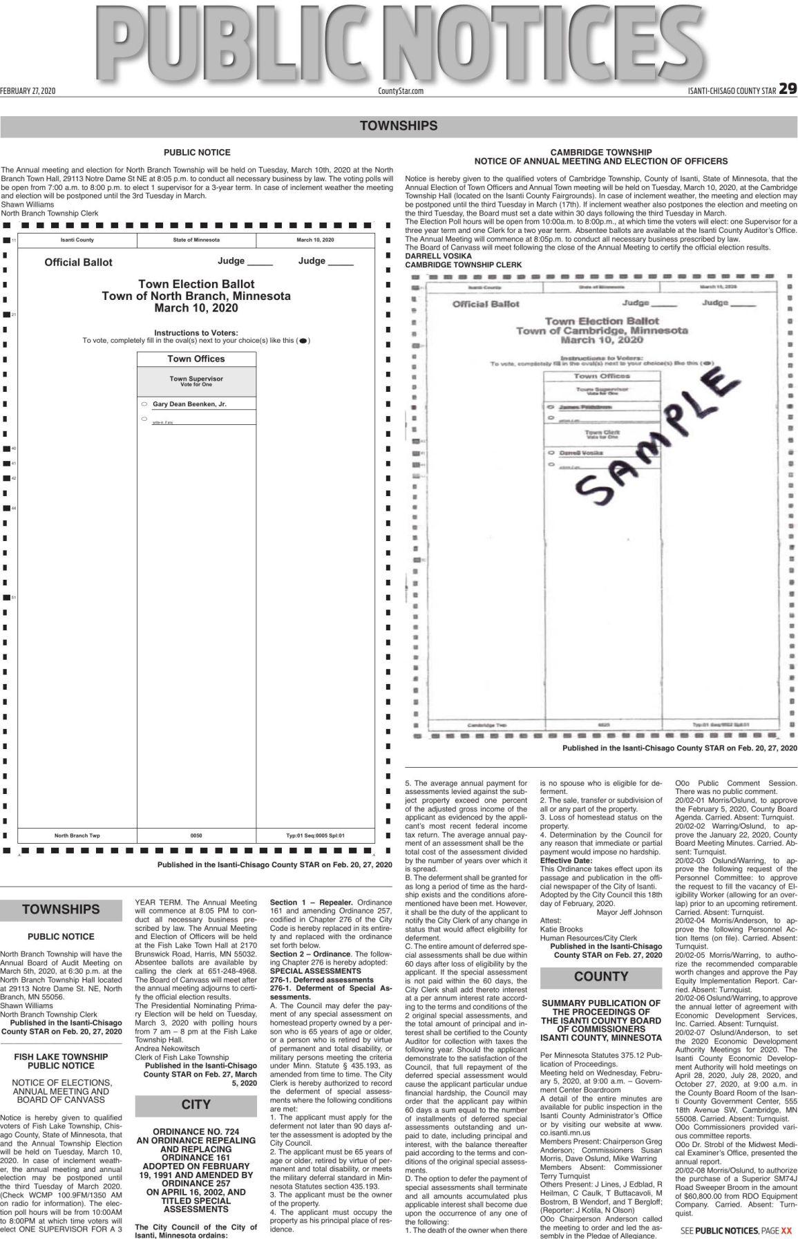 Public Notices - Feb. 27, 2020