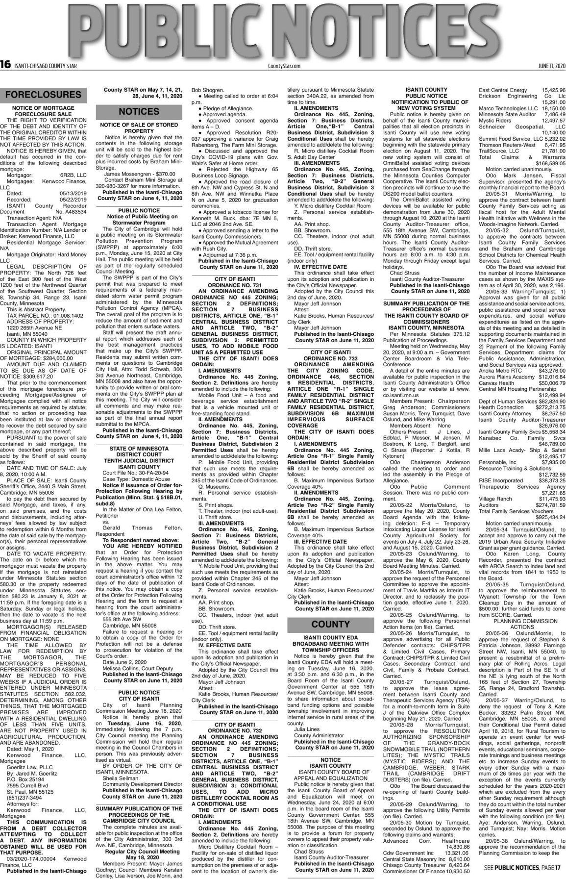 Public Notices - June 11, 2020