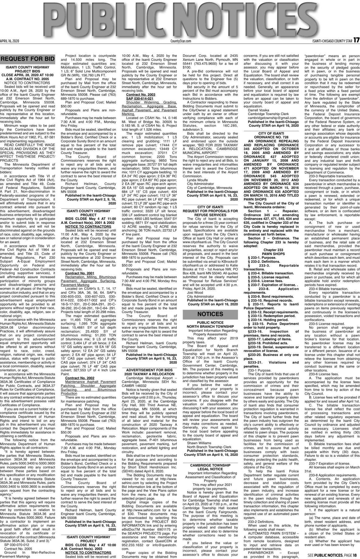 Public Notices - April 16