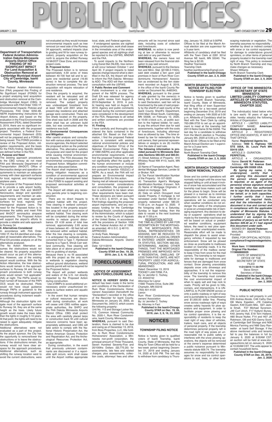 Public Notices - Jan. 2, 2020