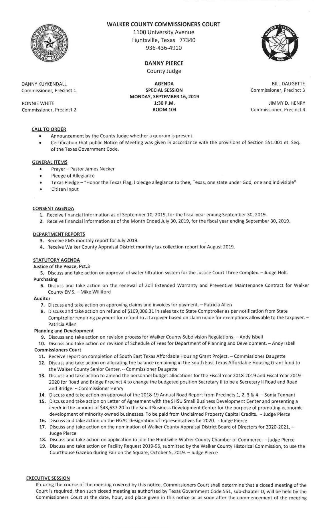 Commissioners Court agenda - Sept. 16
