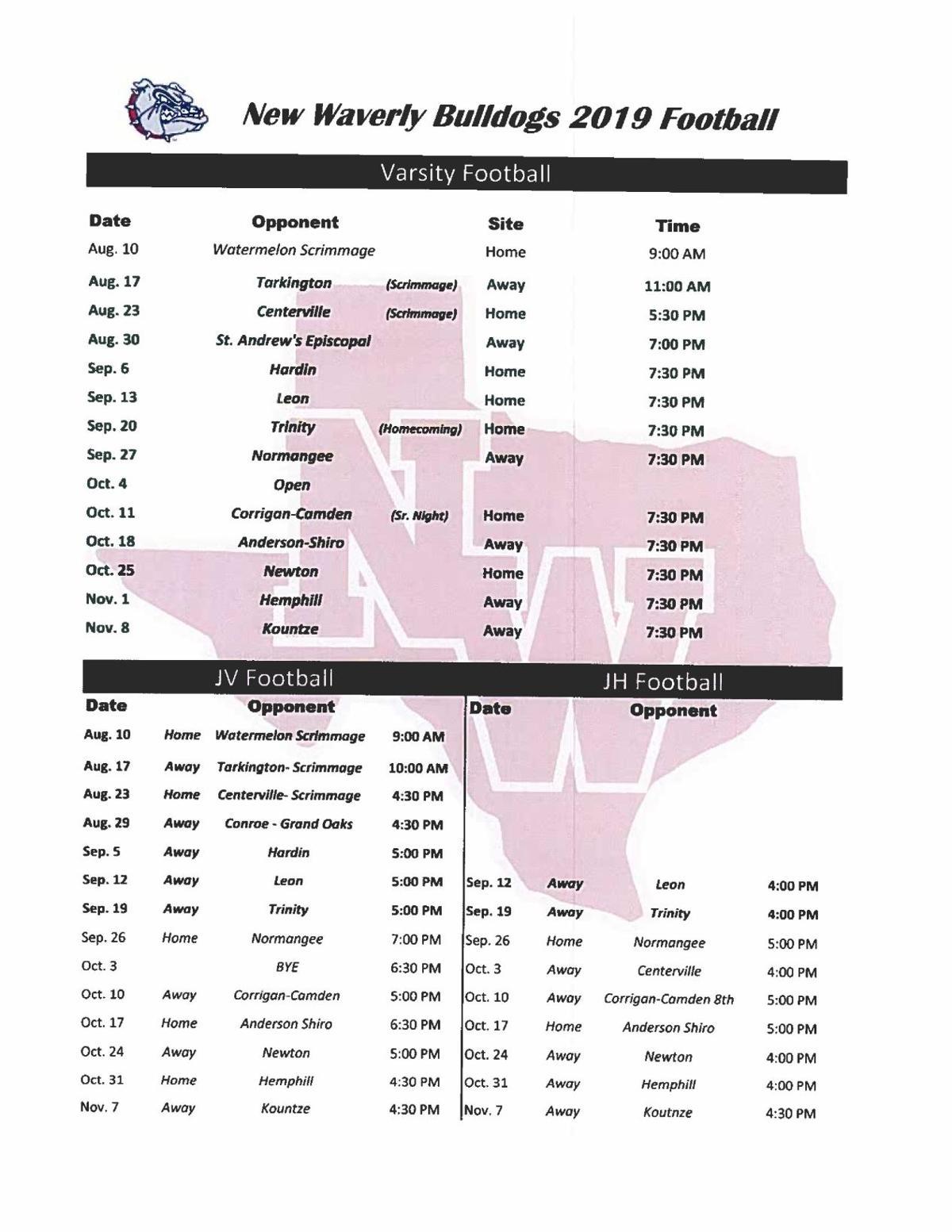 new waverly football schedule