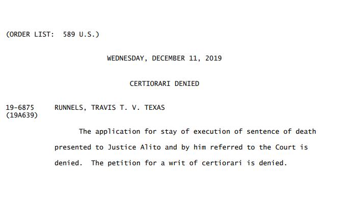 Travis Runnels Supreme Court ruling