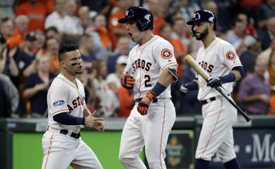 d2e8f7339 ALDS Indians Astros Baseball. David J. Phillip Associated Press. Astros  third baseman Alex Bregman celebrates a solo home run off Indians pitcher  Corey ...