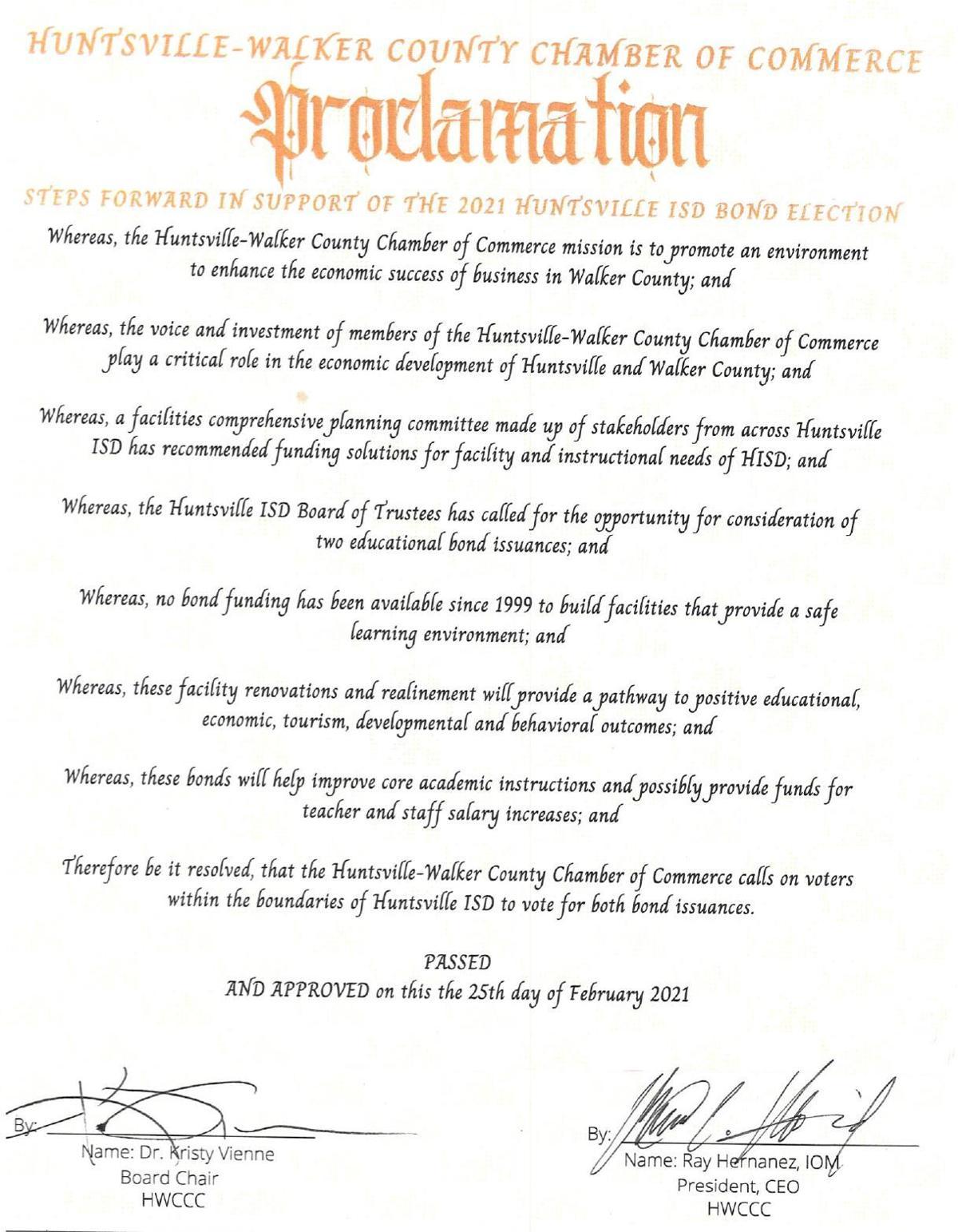 Chamber proclamation