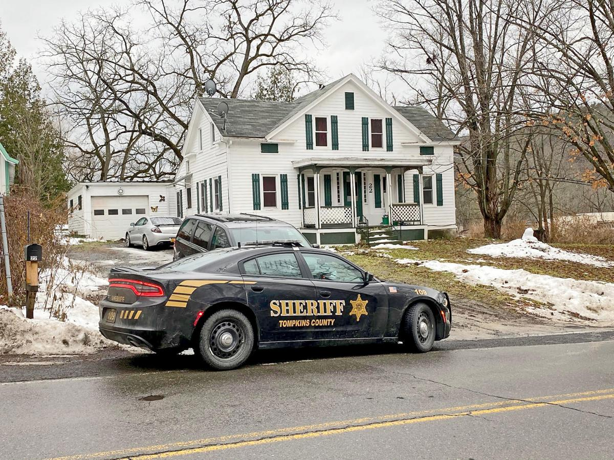 A sheriff's car sits outside 22 Shaffer Rd. in Newfield the morning of Dec. 10. Members of the Tompkins County Sheriff's Department responded to the home Dec. 7 to find DeJour Xavier Gandy, 29, dead of a gunshot wound.