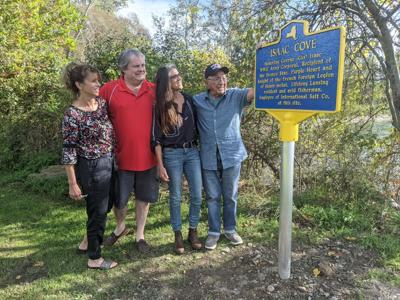 Family members visit new sign at Salt Point in Lansing honoring local resident. From Left, Pam Fisk, Terry Fisk, Judy Isaac and George Isaac.