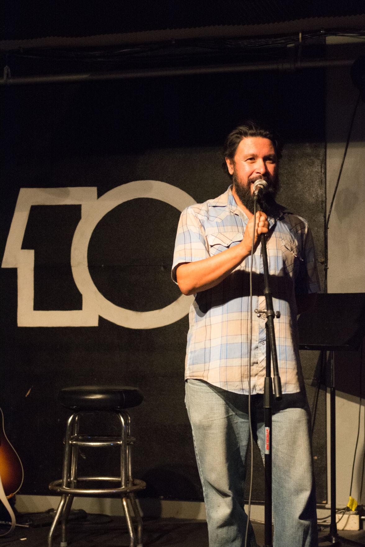Lot 10 Open Mic's host Leon Arguello