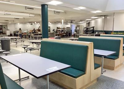 New booths in the Newfield schools cafeteria.