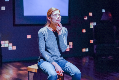 Lena Kaminsky in 2.5 Minute Ride, a one-woman show now playing at the Kitchen Theatre.