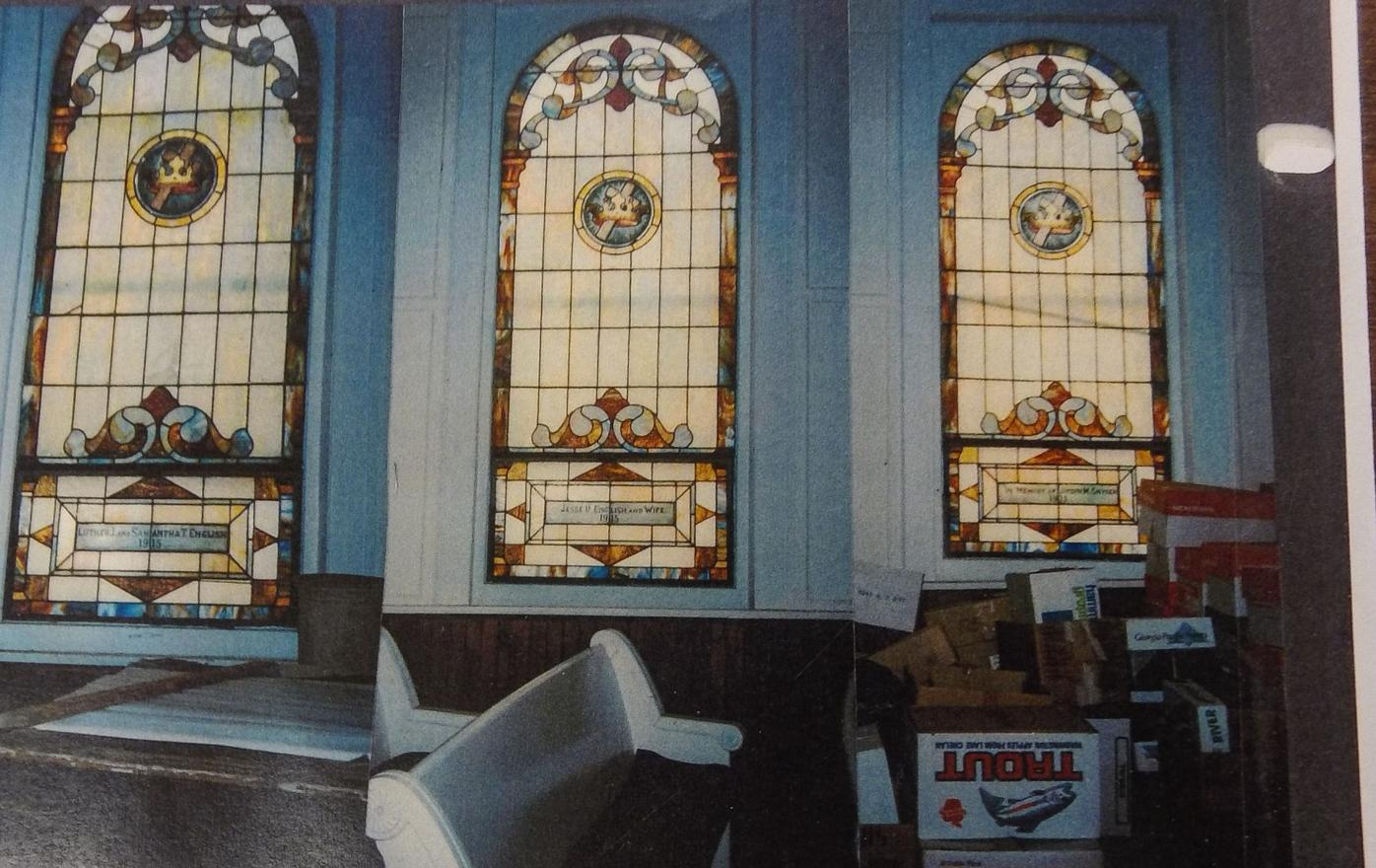 The windows of the Snyder Hill Baptist Church