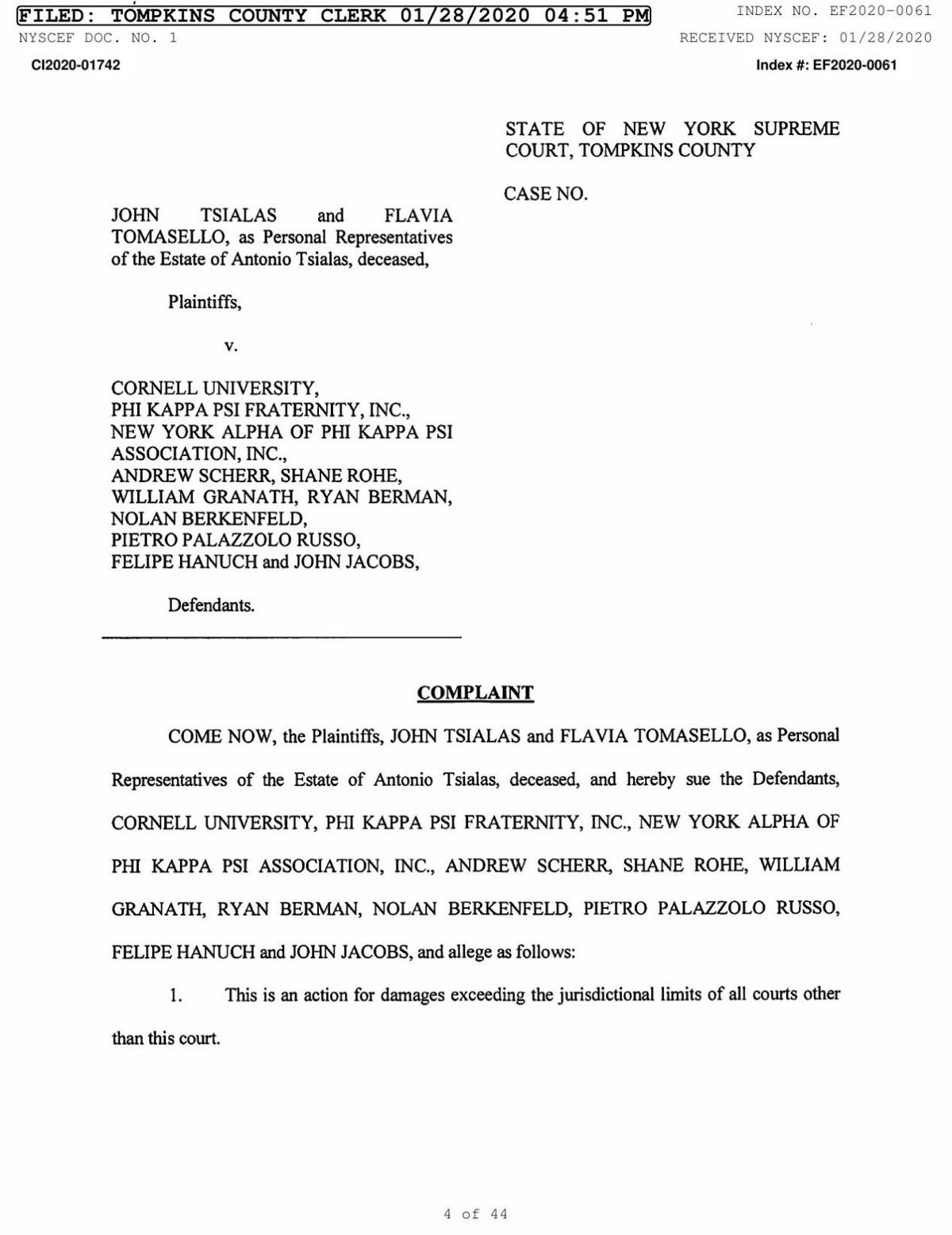 Antonio Tsialas lawsuit