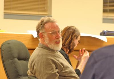 David Weinstein (above) shared his displeasure with the Town of Dryden Board of Trustees' decision to replace the one-lane bridge on Freese Road at a meeting on June 20.