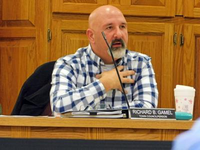 Groton Town Councilperson Richard Gamel speaks during the Town Council's discussion with Abundant Solar Energy on Nov. 12.