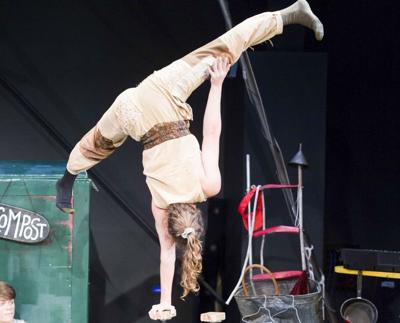 Some of the Cirque US performers show off their moves during a recent practice session.