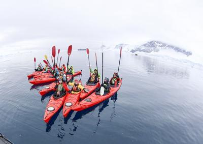 Louise Adie and a group of fellow kayakers in Antarctica.