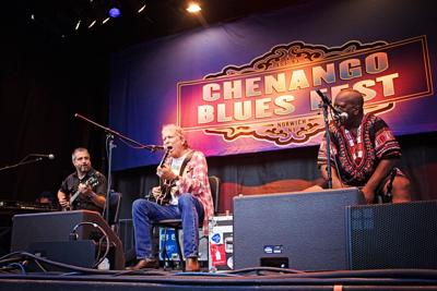 The gathered crowd at last year's Chenango County Blues Festival enjoys Elvin Bishop.