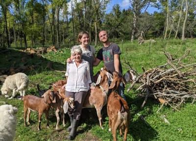 Straw Pocket Farm owners (from left) Rebecca Hagen, Annalise Hagen, and Patrick Branigan.