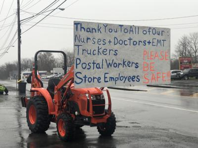A sign along in Waterloo thanking those who are working through the pandemic.