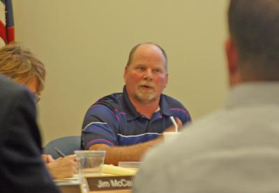 Village of Lansing Code Enforcement Officer Mike Scott speaks during a planning board meeting from this past spring