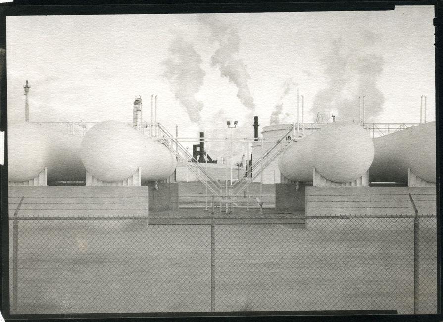 """Petroleum Refineries"""", Commerce City, CO, 1996.  5""""x7"""", platinum/palladium print"""
